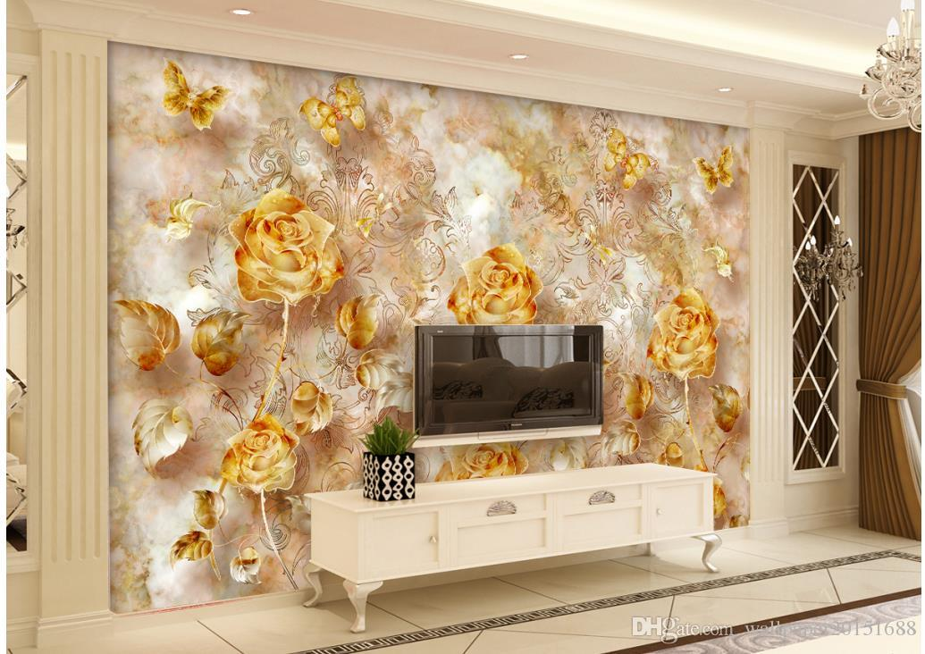 European Style Retro Gold Luxurious Rose Pattern Butterfly - كاغذ ديواري پشت تلويزيون , HD Wallpaper & Backgrounds