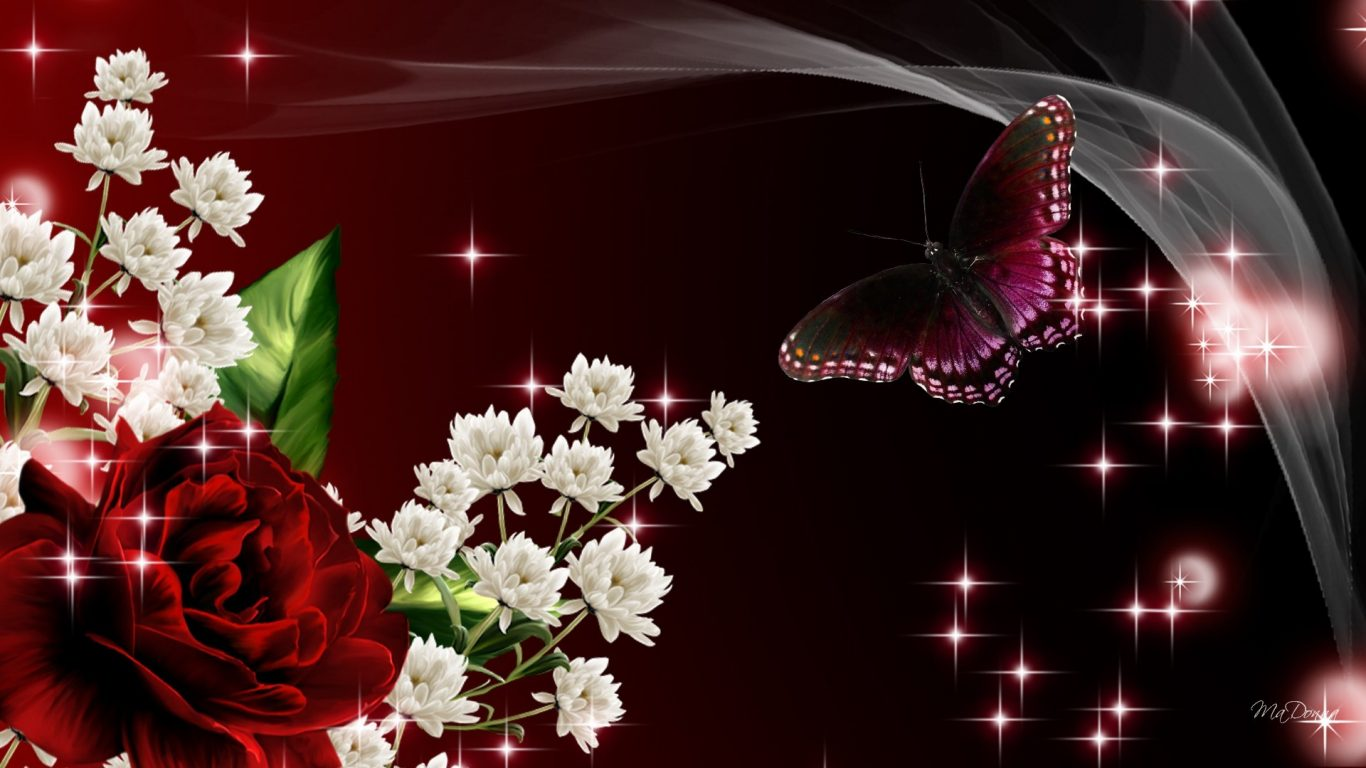 Roses Red Flowers Butterfly Firefox Persona Silk Dark - Red Flowers And Butterflies , HD Wallpaper & Backgrounds
