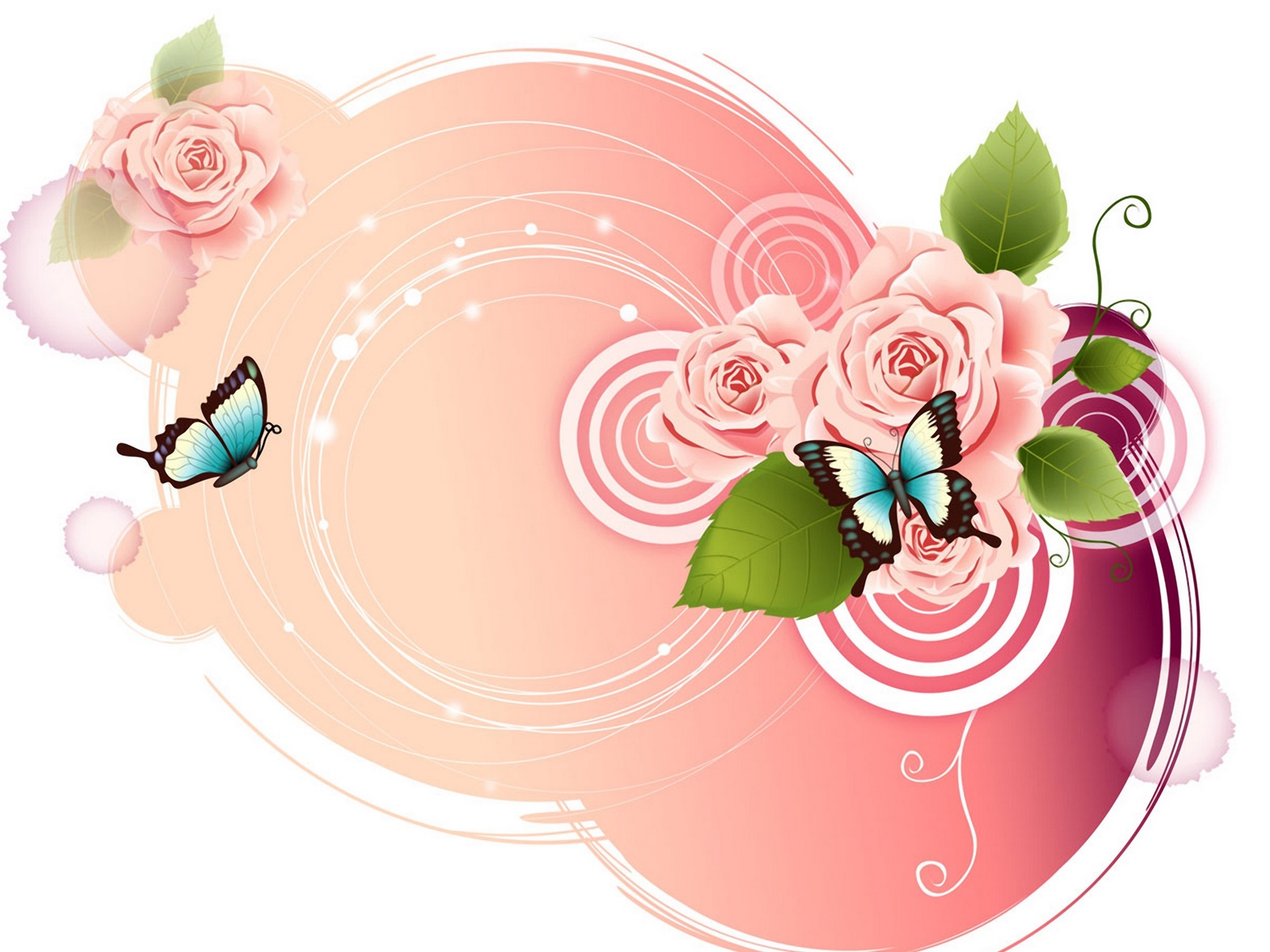 Wallpaper Rose, Butterfly, Patterns, Tenderness - Vector Butterfly , HD Wallpaper & Backgrounds