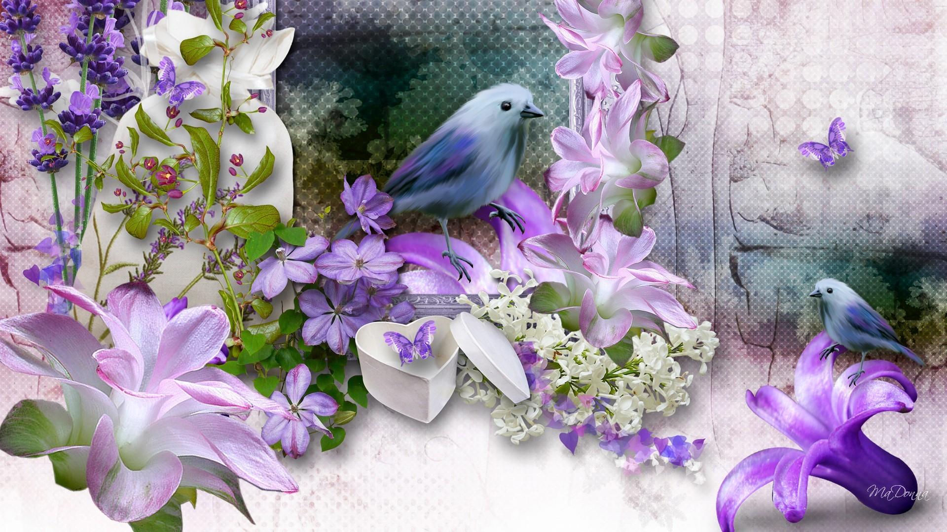 Summer Purple Flowers Lovely Lilies Firefox Bird Butterflies - 3d Laptop Wallpaper Scenery , HD Wallpaper & Backgrounds