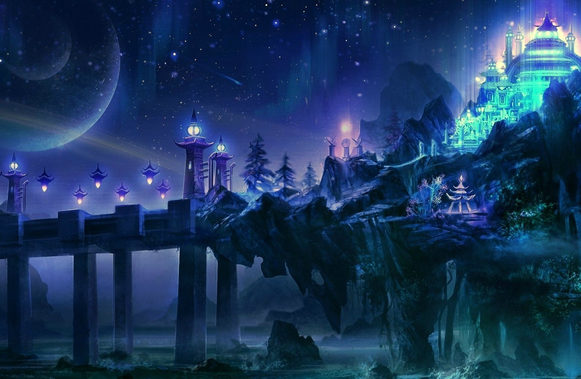 1920 X 1251 Px Free Download Pictures Of Dark Castle - Starry Night Fantasy Art , HD Wallpaper & Backgrounds