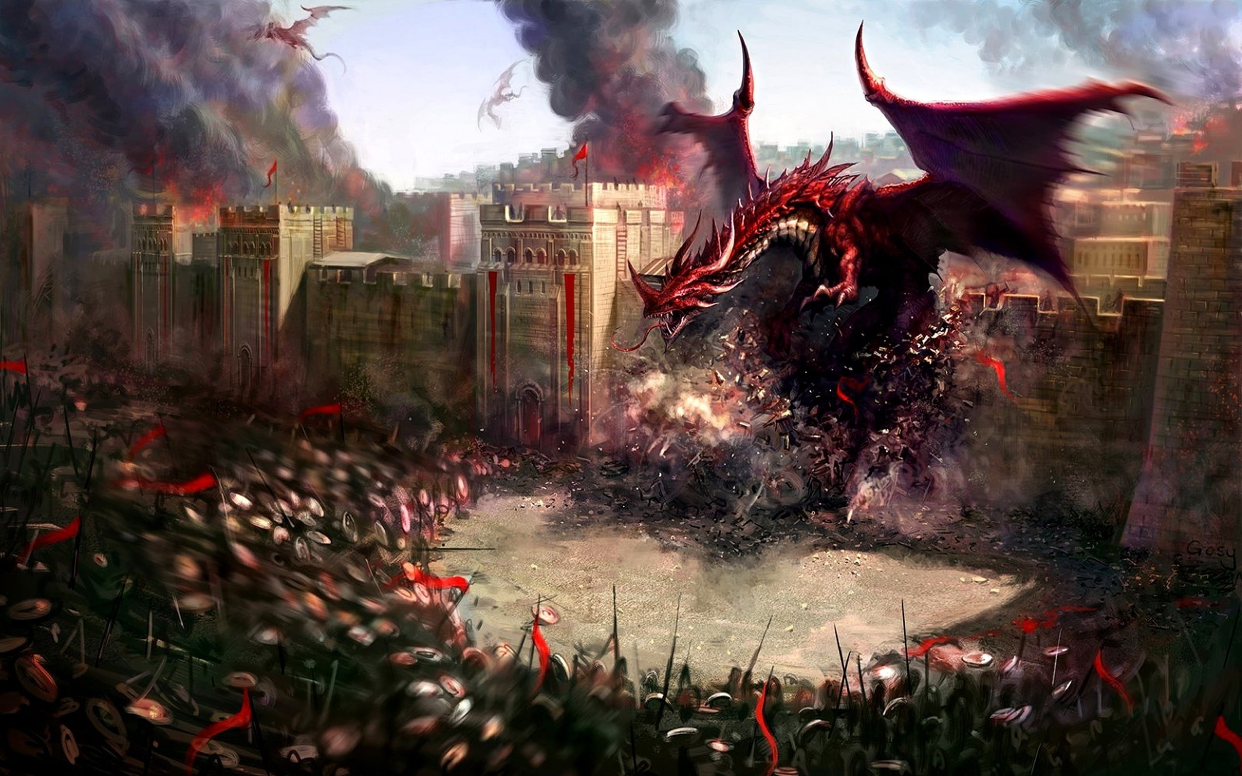 Red Dragon Destroyed The Castle Wall In Front Of Soldier D D