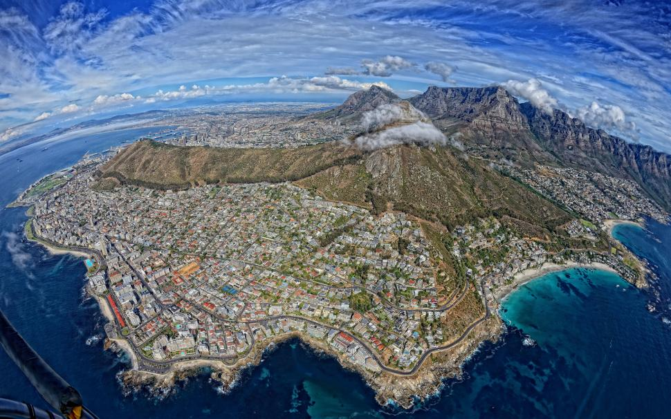 Cape Town South Africa Buildings Mountains Aerial Coast - Aerial View Of South Africa , HD Wallpaper & Backgrounds
