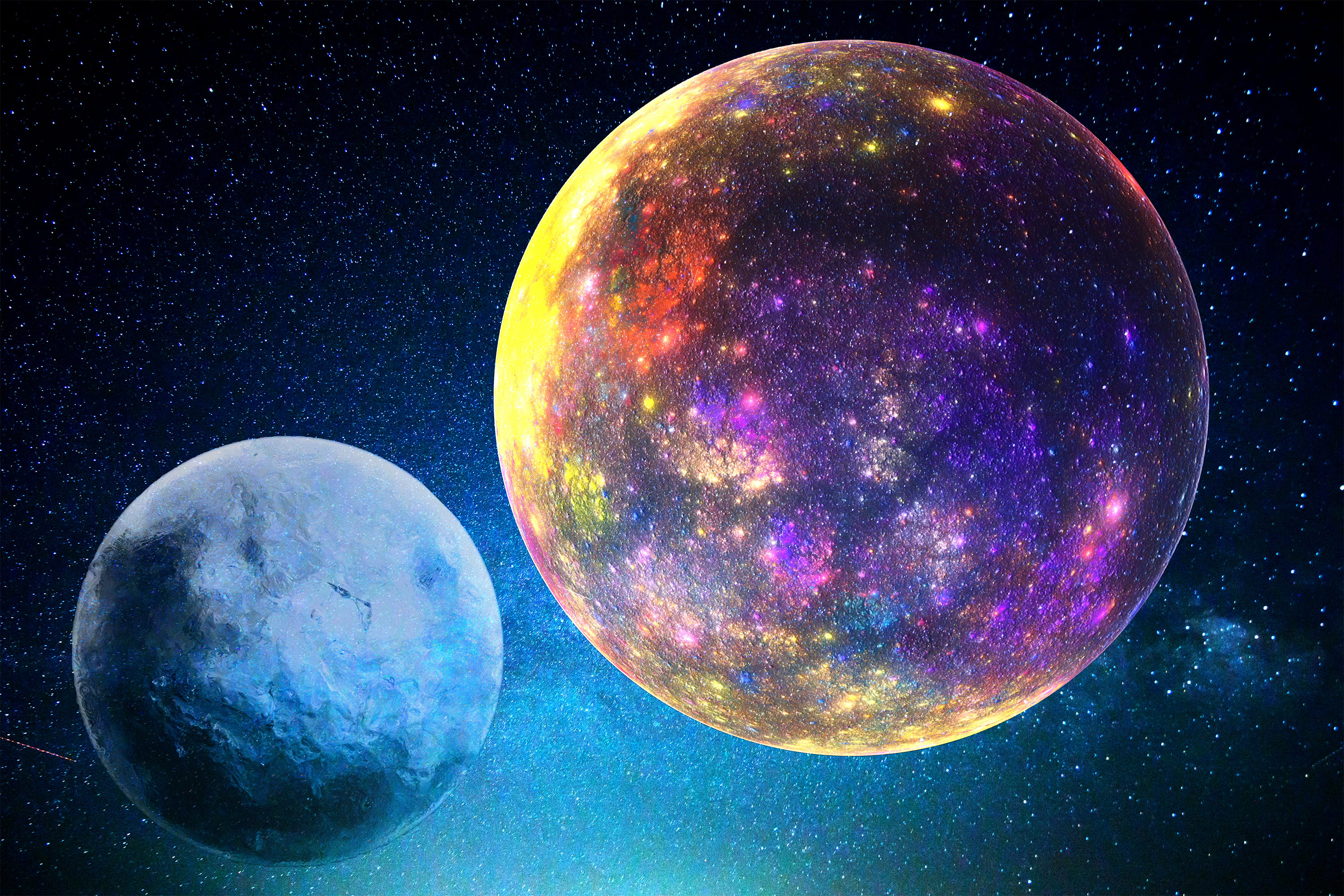 Two Purple And Blue Planets Wallpaper Space Stars Universe