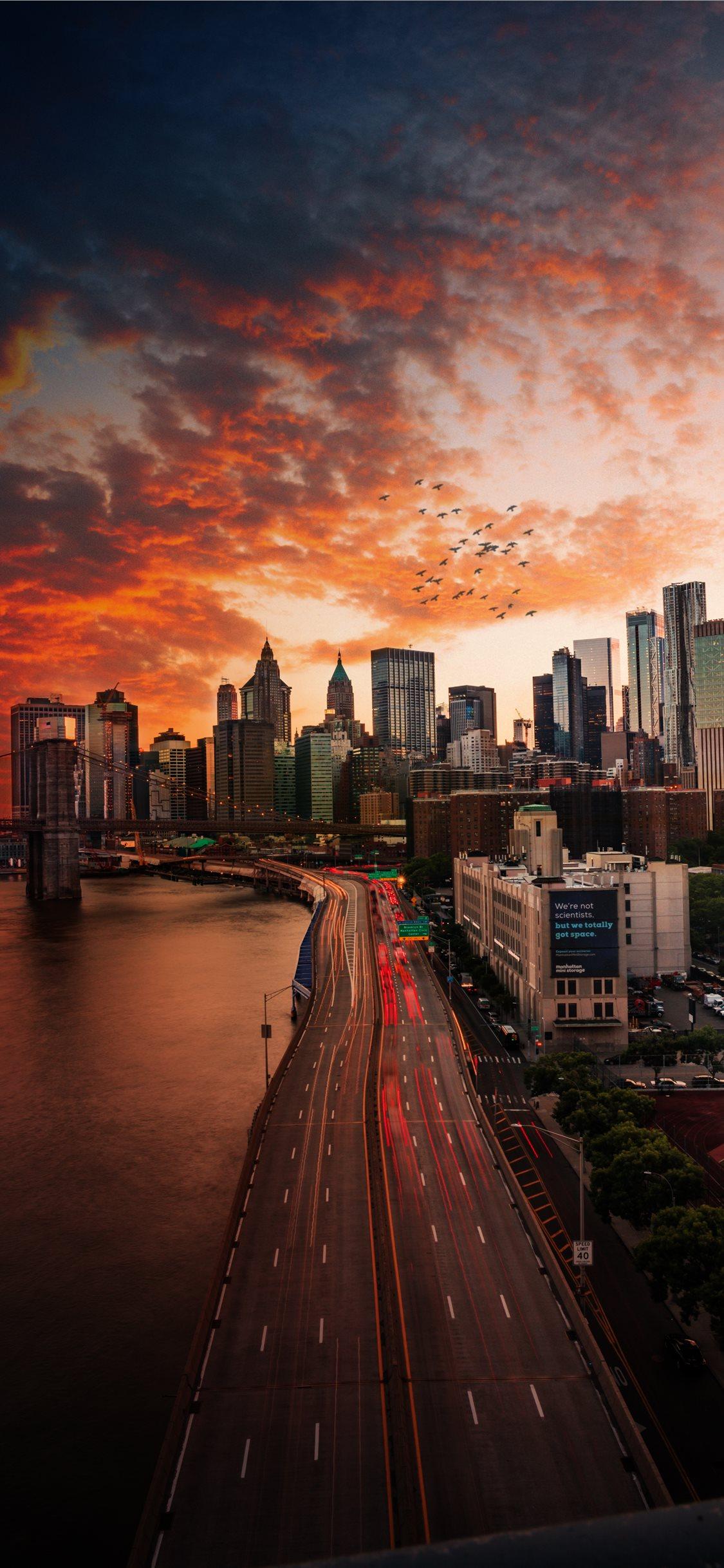 Sunset Over Manhattan Bridge Iphone X Wallpaper New York