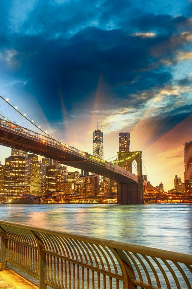 Download Wallpaper Brooklyn Bridge Nyc Sunset 2054448