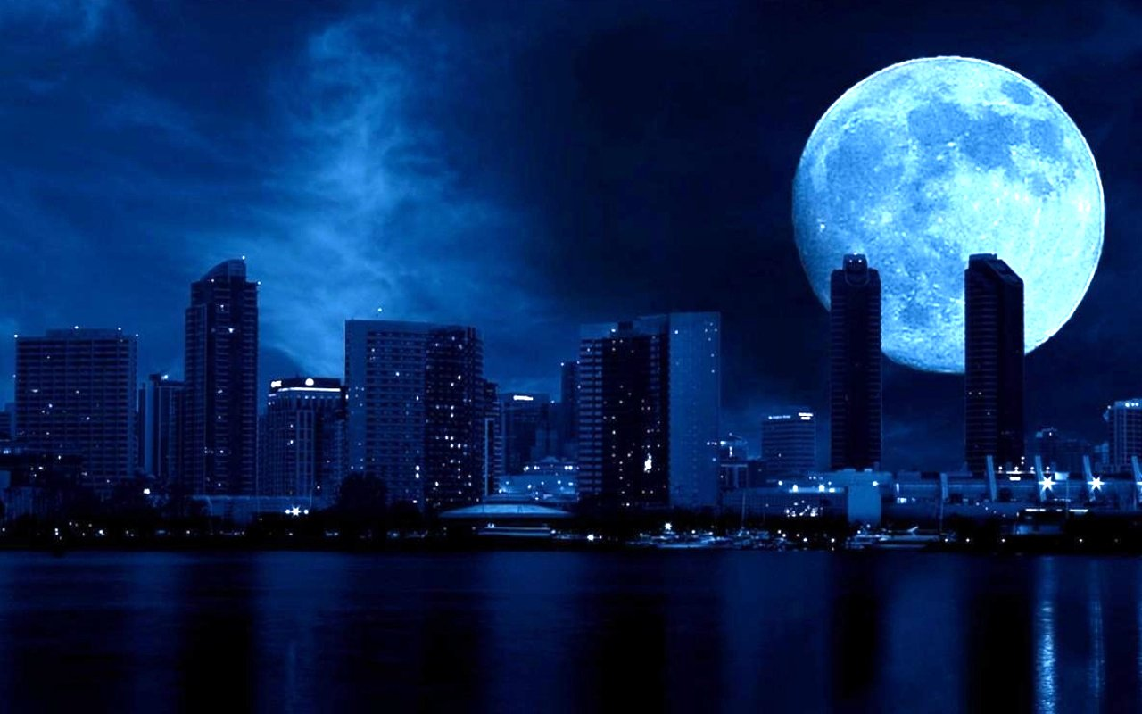 Blue Moon City View Desktop - City Night Sky Moon , HD Wallpaper & Backgrounds