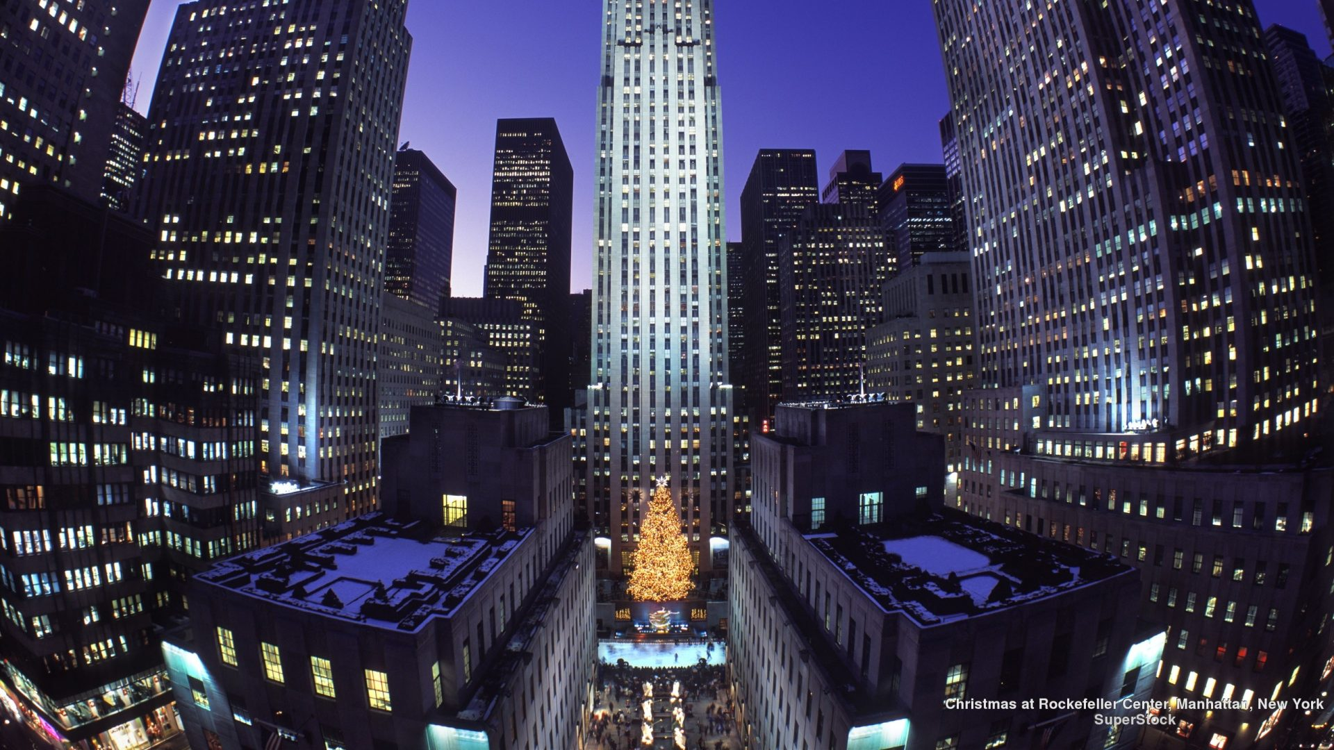 Christmas Rockefeller Center Winter Manhattan New York - Rockefeller Center Christmas Tree , HD Wallpaper & Backgrounds