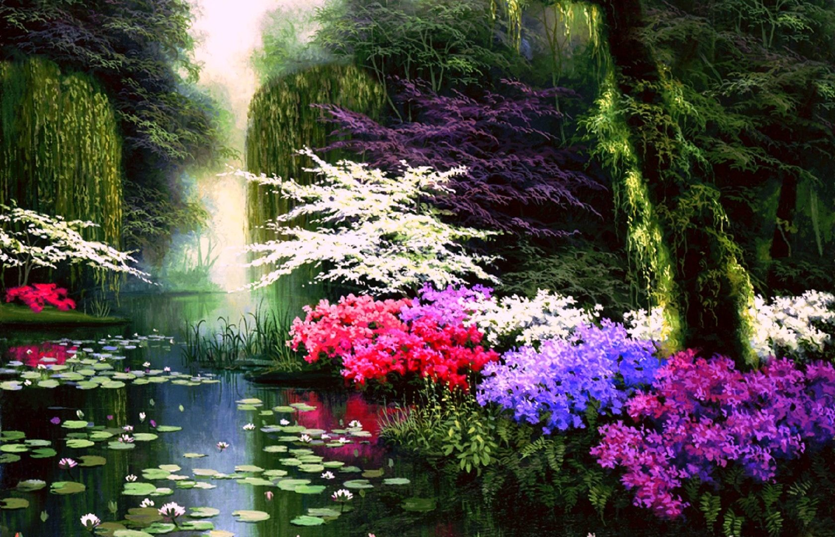 Four Enchanted Colors Love Nature Dreams Scenery Pre - Beautiful View Of Flowers , HD Wallpaper & Backgrounds