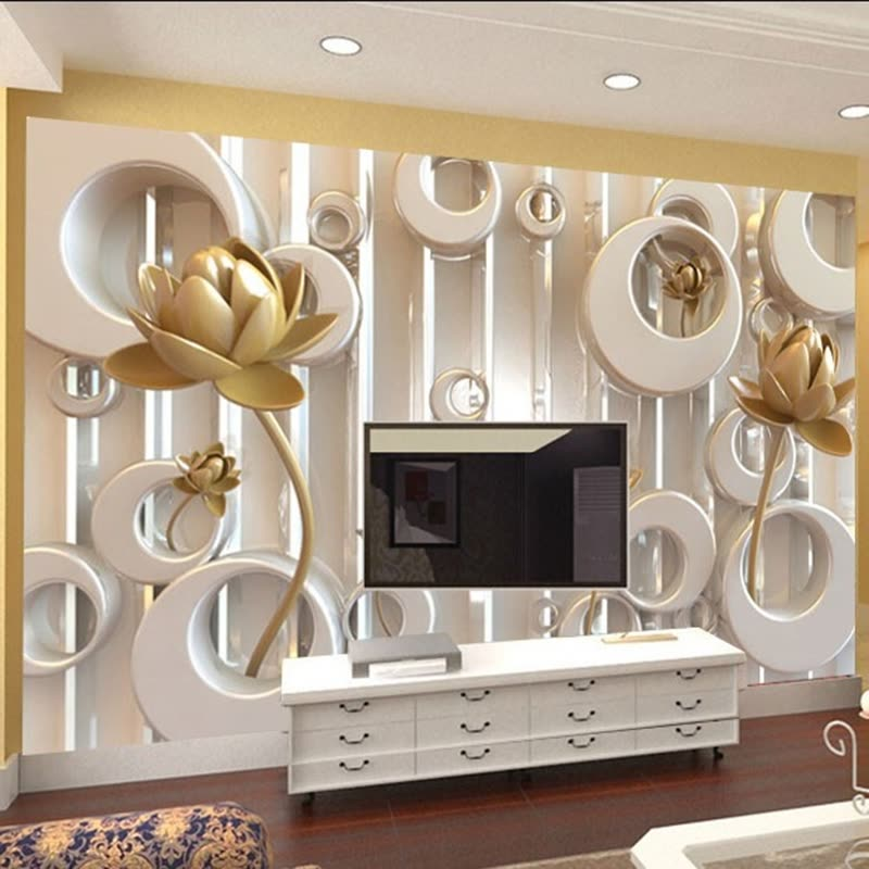 205 2056955 3d wall mural stereoscopic golden lotus ring cycle