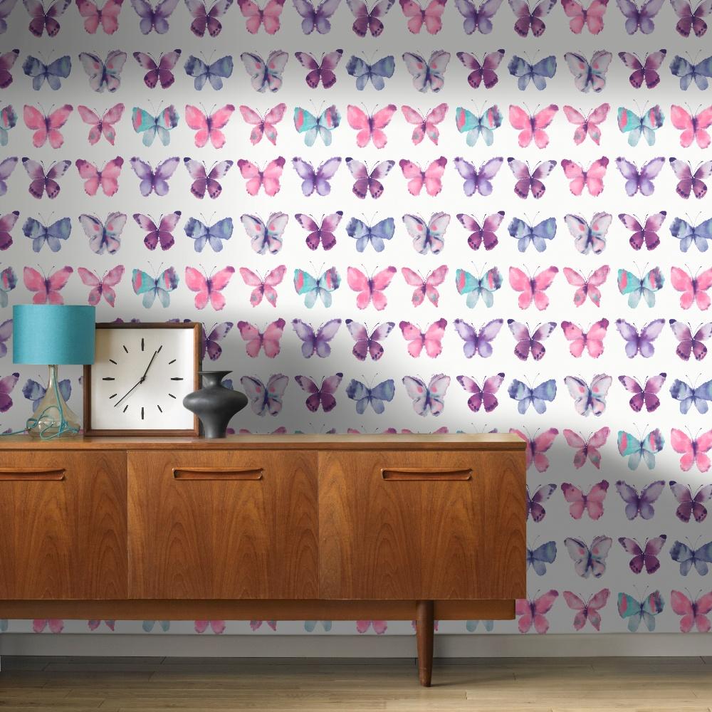 Rasch Butterfly Pattern Water Coloured Canvas Motif - Purple And Silver Wallpaper Bedroom , HD Wallpaper & Backgrounds