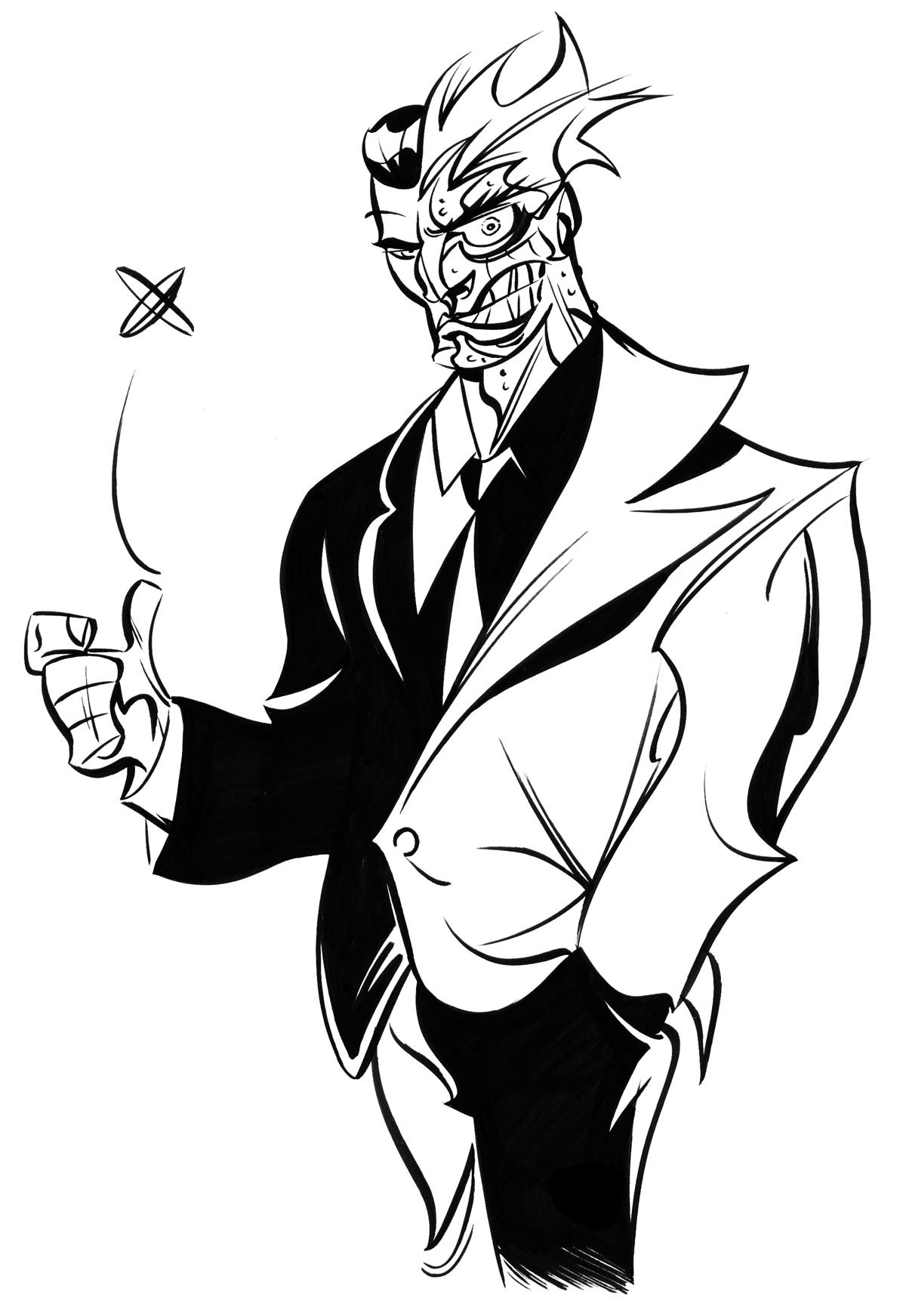 Two Face Comic Wallpapers 919640 - Two Face Comic Drawing , HD Wallpaper & Backgrounds