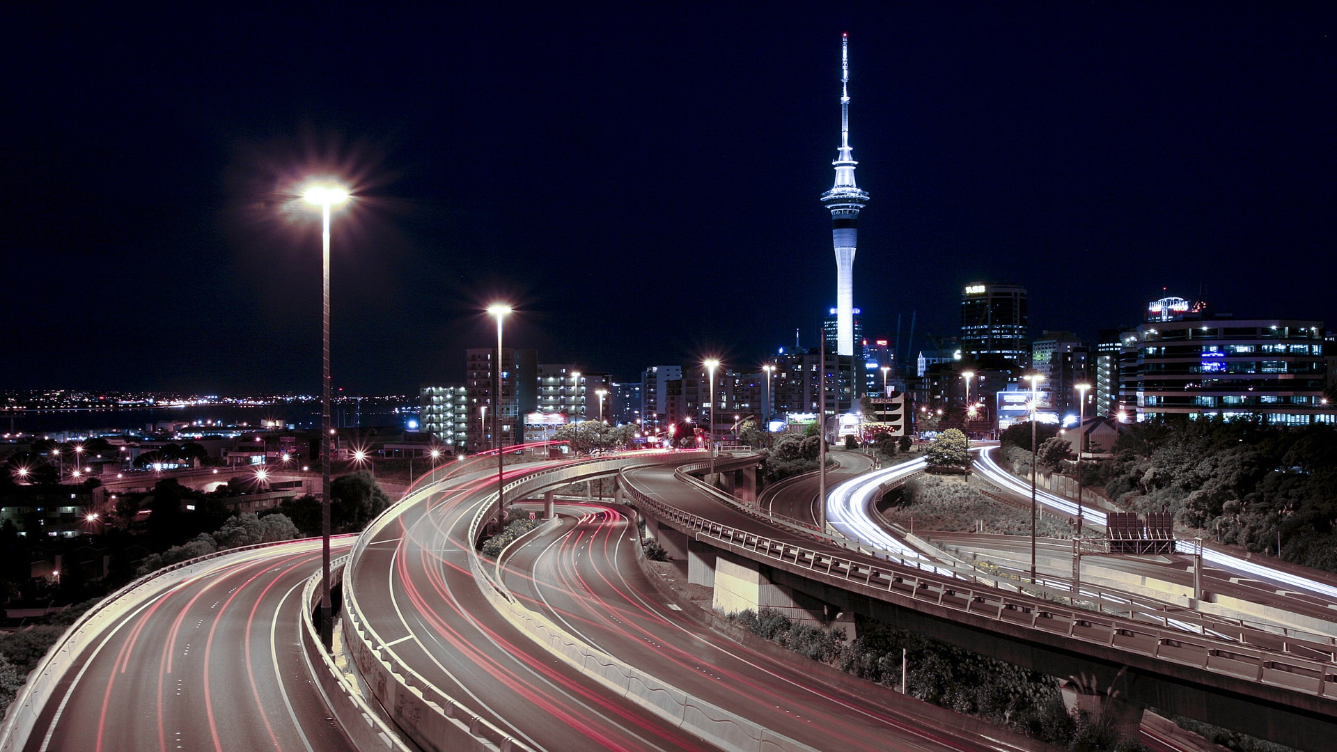 Full Hd Wallpaper Highway Sky Tower Night Auckland - Spaghetti Junction , HD Wallpaper & Backgrounds
