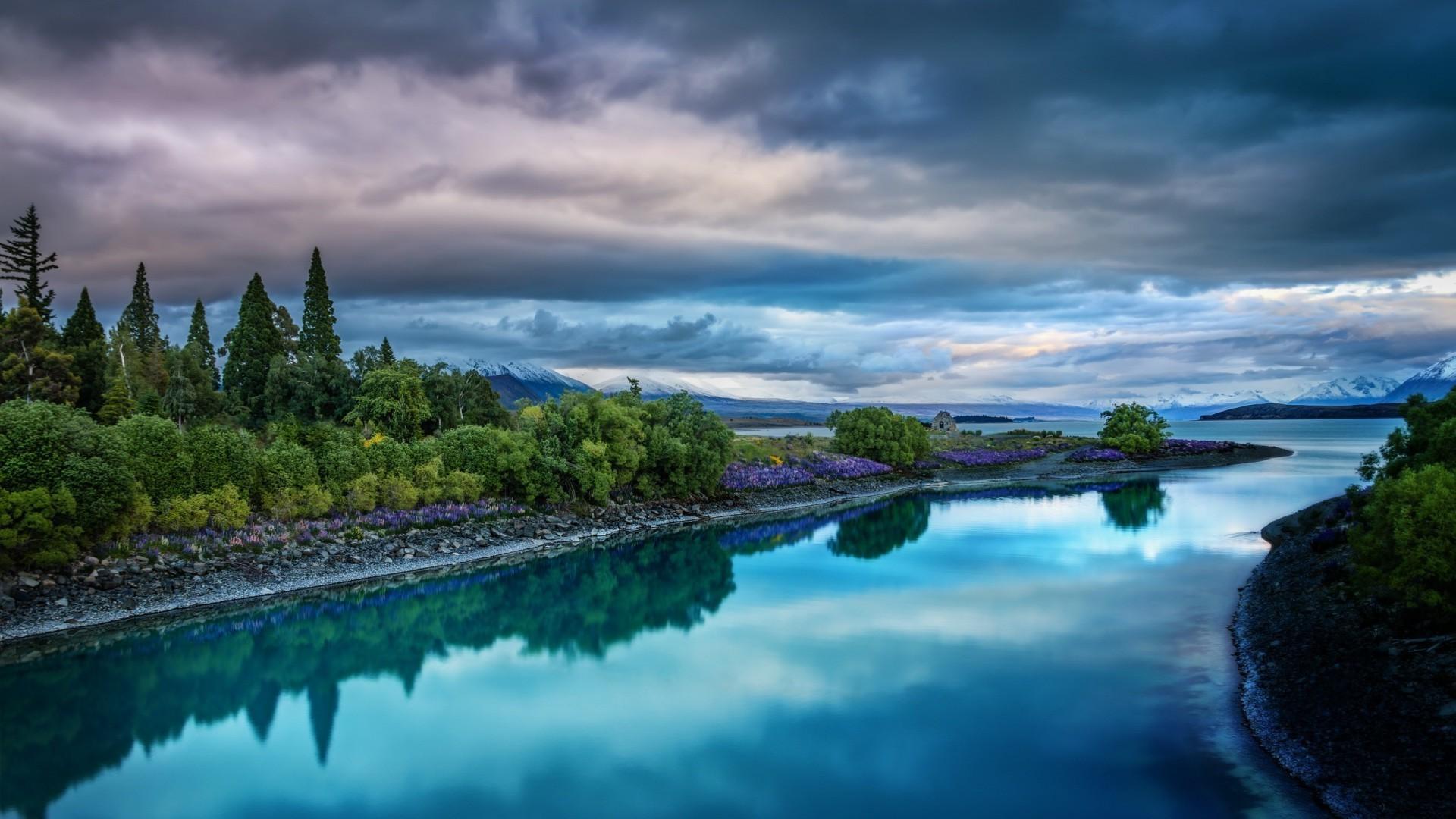 Nature, Landscape, River, Clouds, Trees, Reflections, - Calm Wallpaper River , HD Wallpaper & Backgrounds