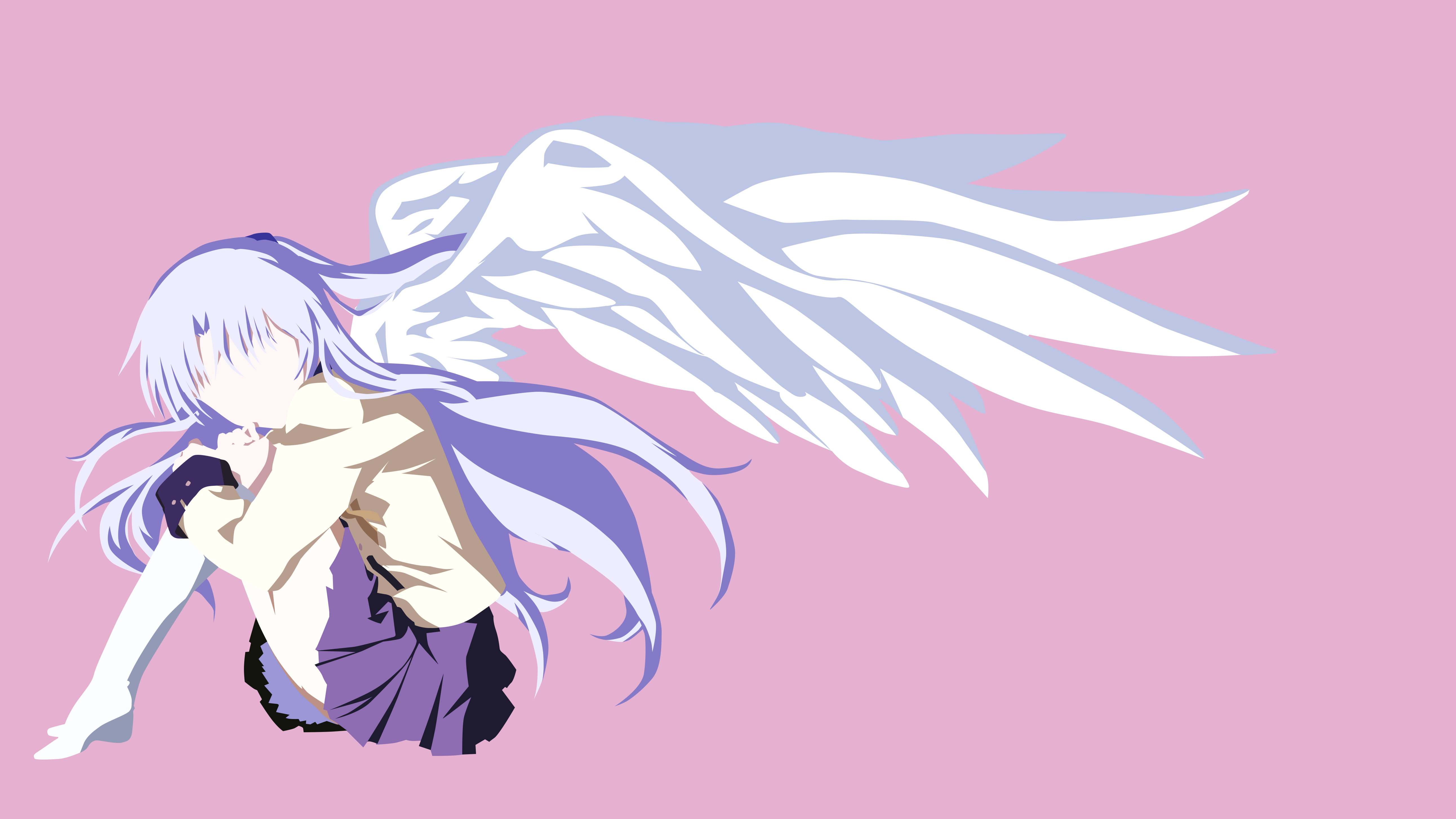 Anime Cat With Wings minimalism, angel beats , tachibana kanade, wings