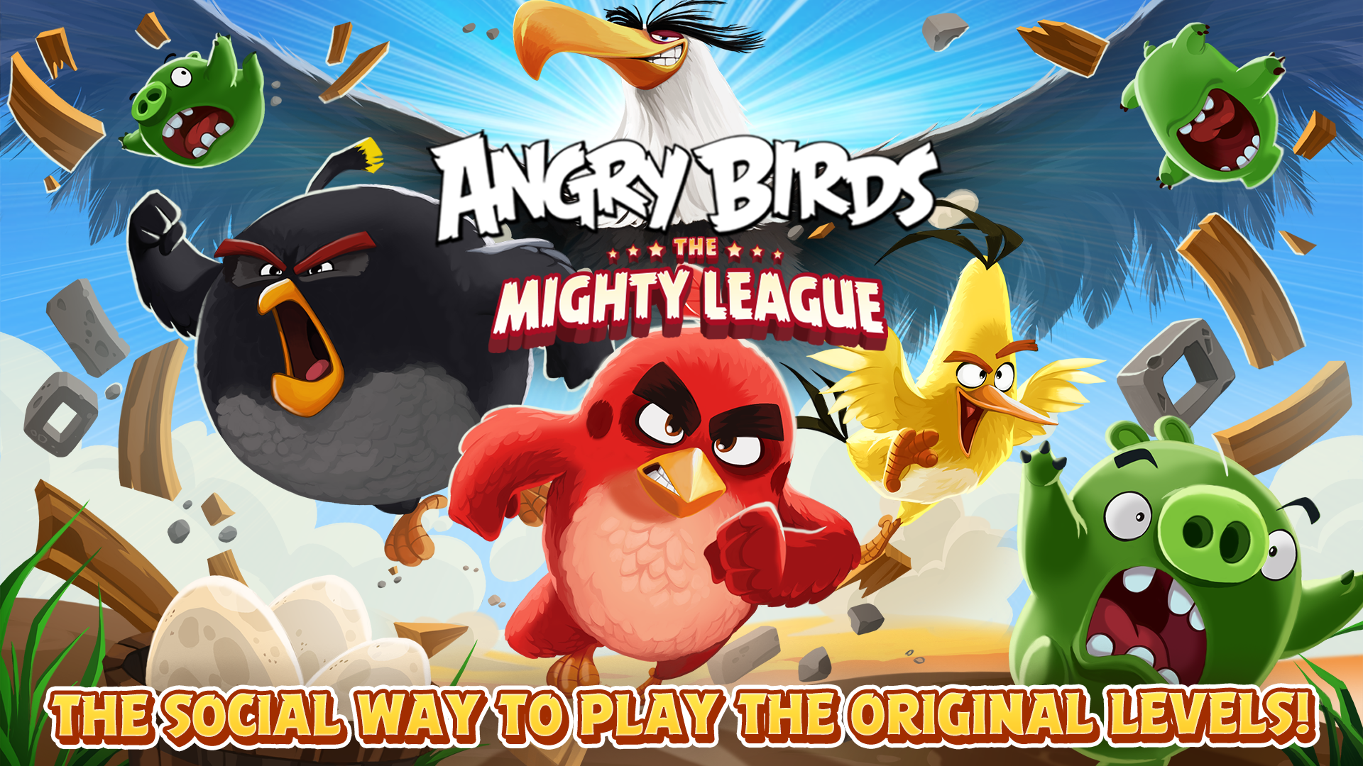 Join The New Mighty League In Biggest Update Ever To - Mighty Eagle Angry Birds Game , HD Wallpaper & Backgrounds