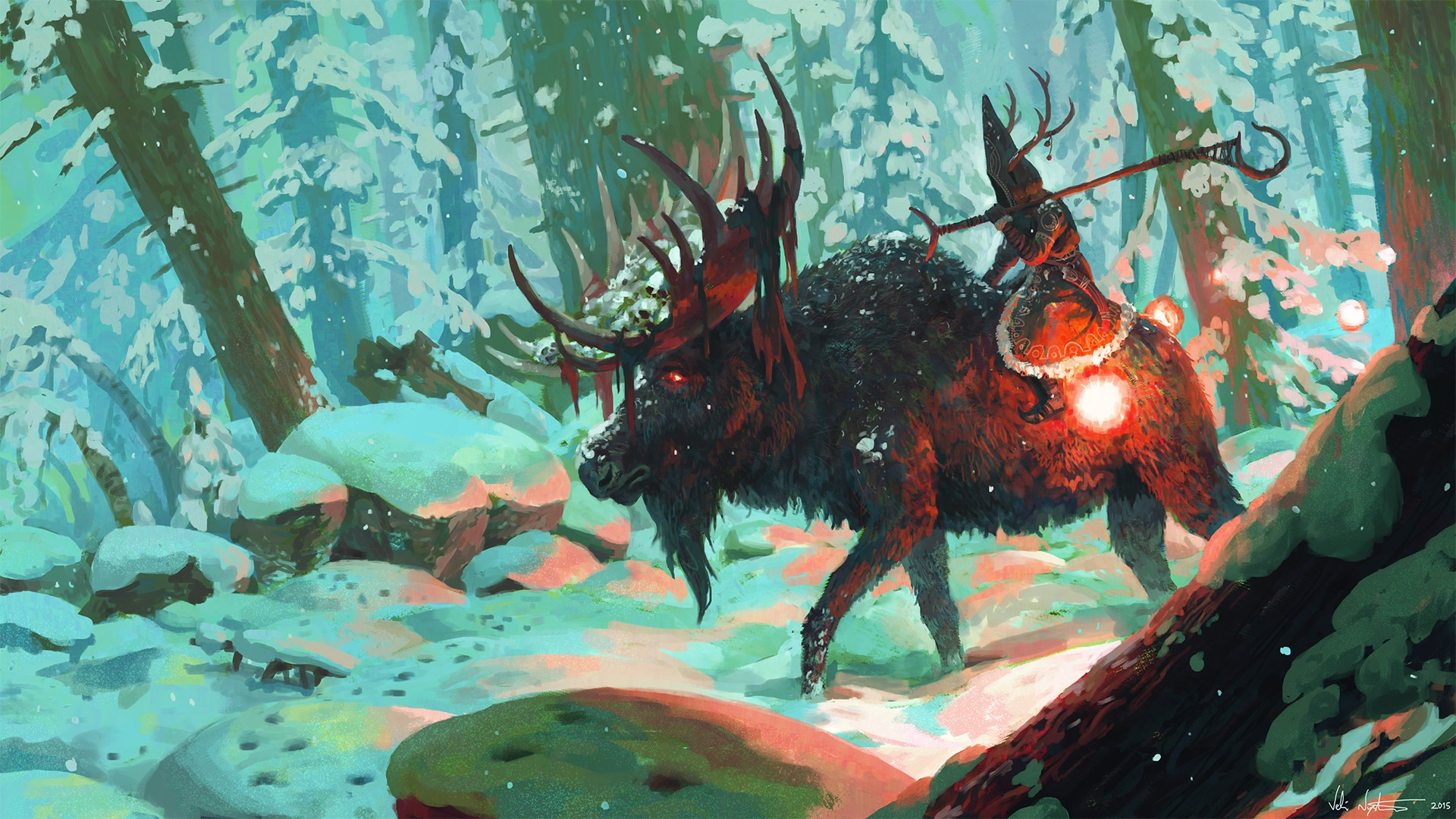Wizard, Veli Nystrã¶m, Creature, Snow, Forest, Fantasy - Riding A Deer Fantasy , HD Wallpaper & Backgrounds