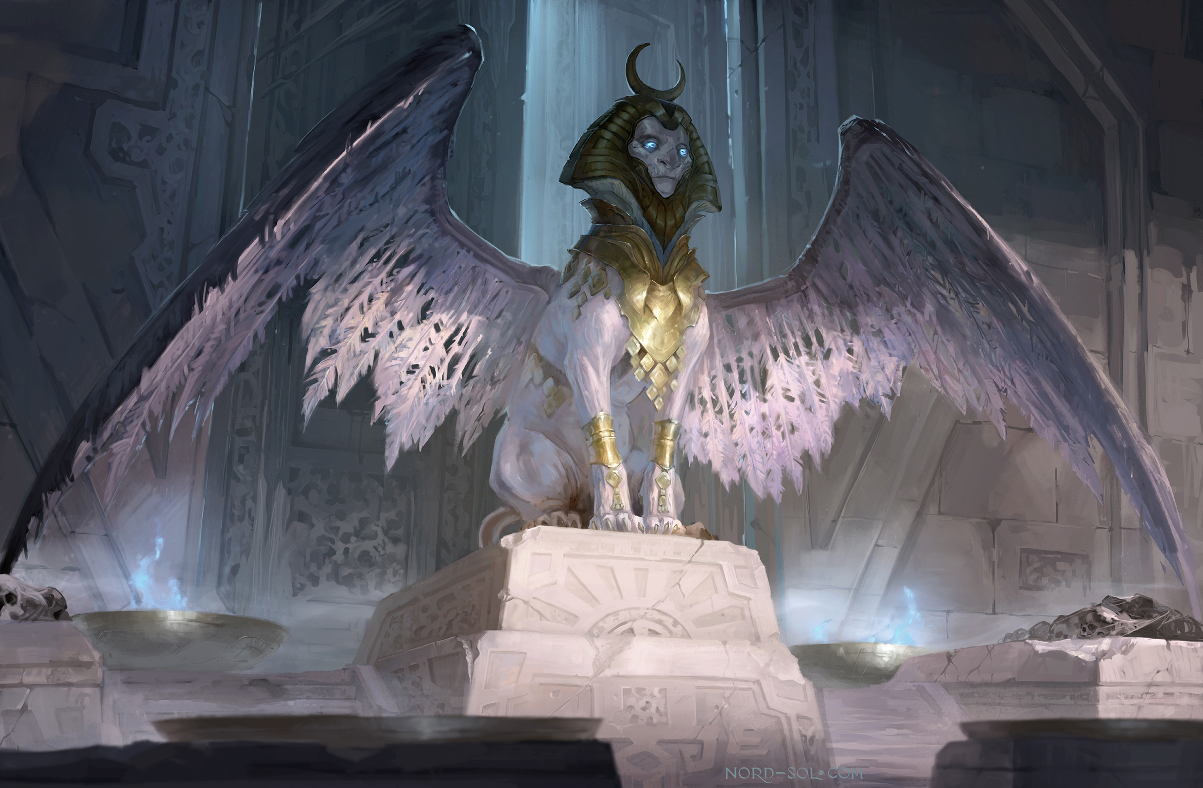 Sphinx Creature Wings Wallpaper And Background Sphinx