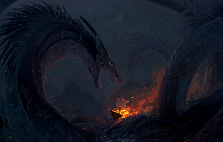 Photo Wallpaper Waves, Fire, Fantasy, Sea, Night, Rocks, - Fantasy Sea Monster Deviantart , HD Wallpaper & Backgrounds