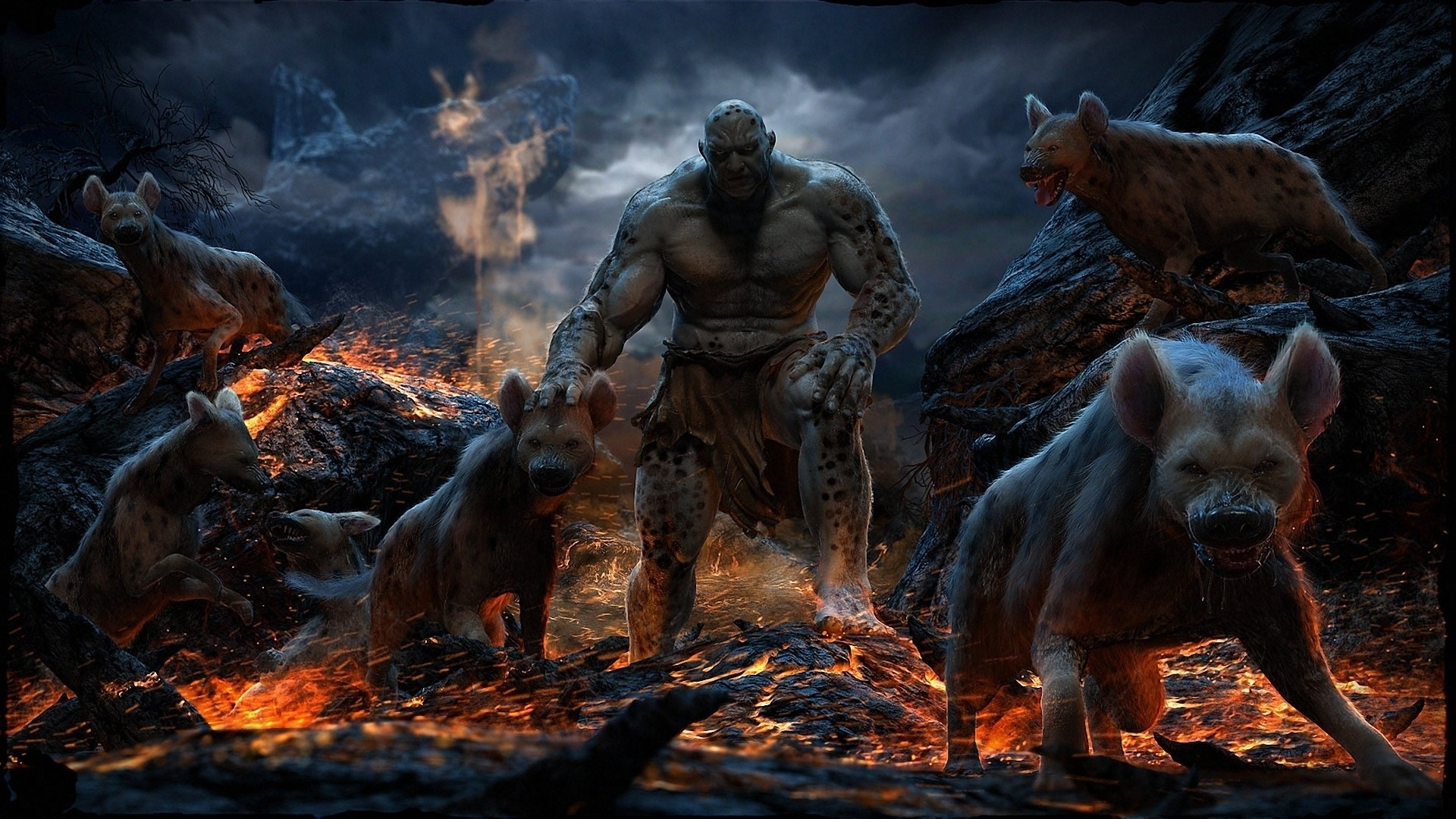 3d Hyenas Lava Monsters Master Artwork Wallpaper Arbiter And