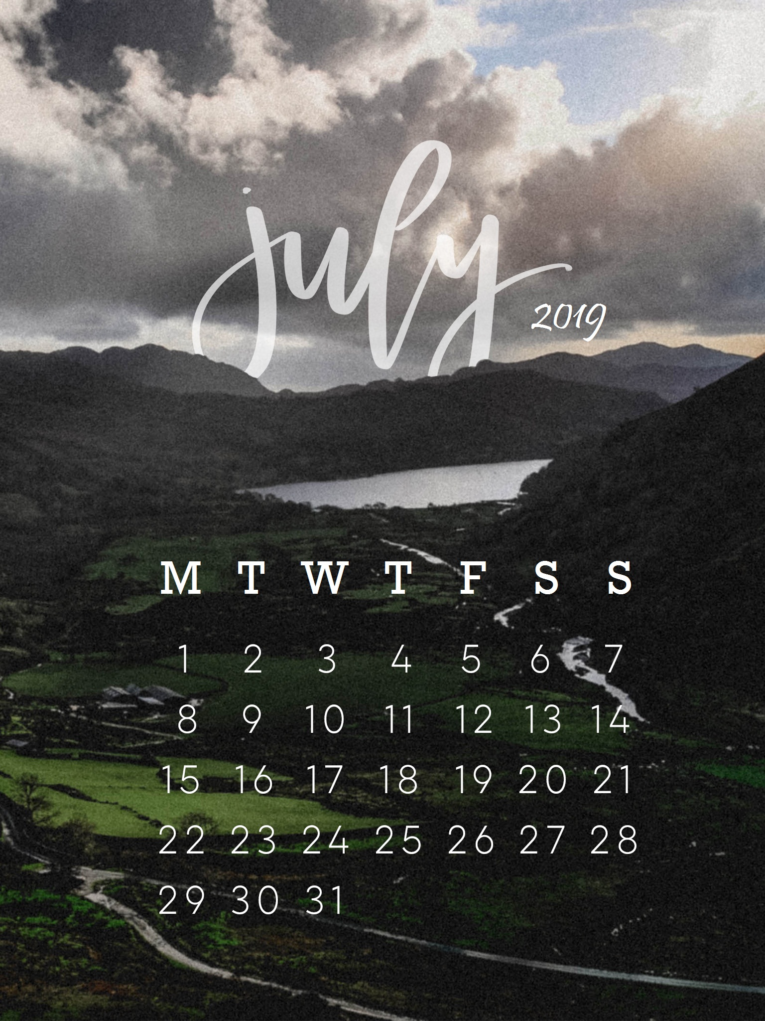 Mountains Scene July 2019 Iphone Wallpaper Calendar - June 2019 Iphone Background , HD Wallpaper & Backgrounds