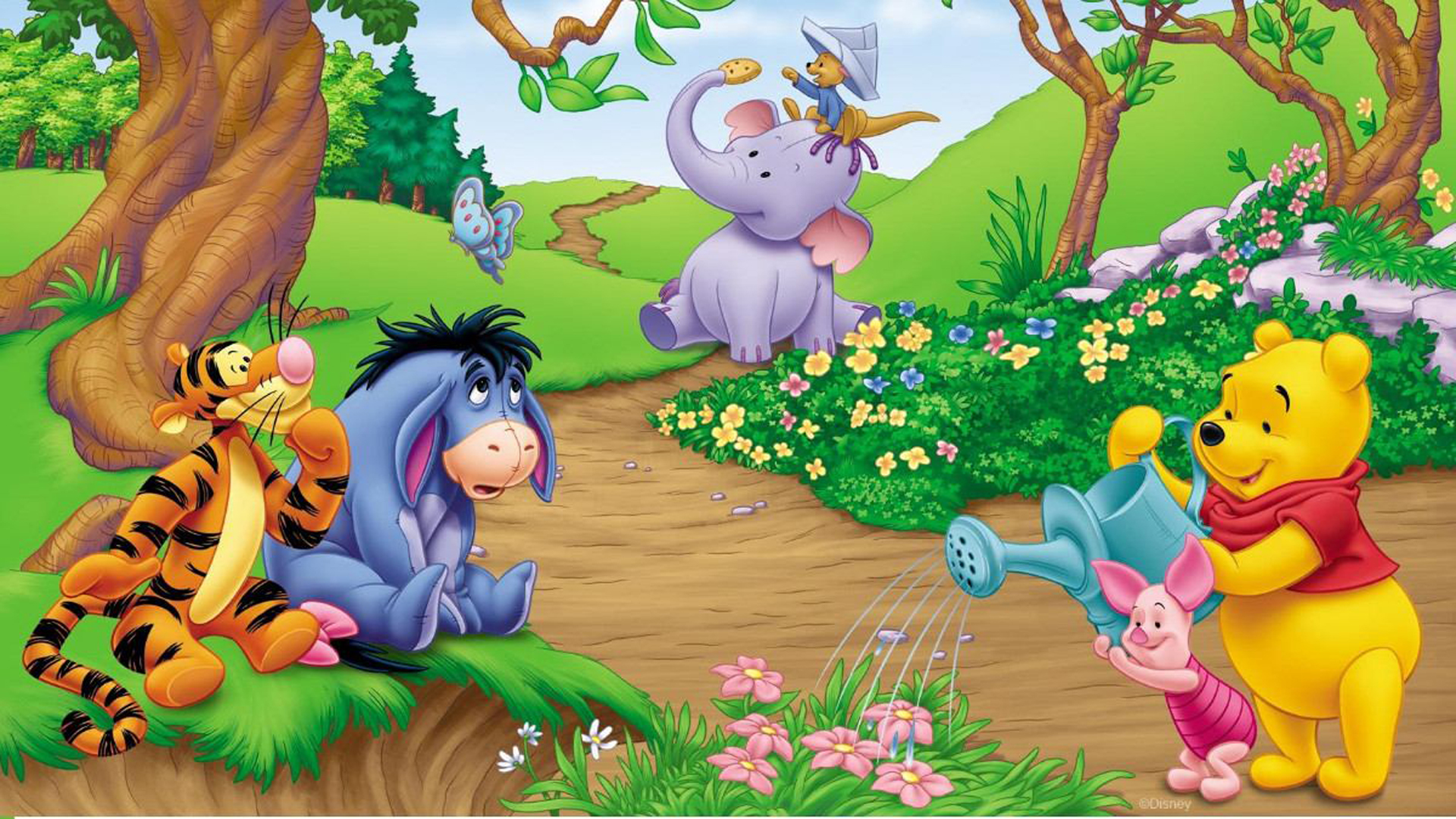 Winnie The Pooh In The Garden 2088093 Hd Wallpaper