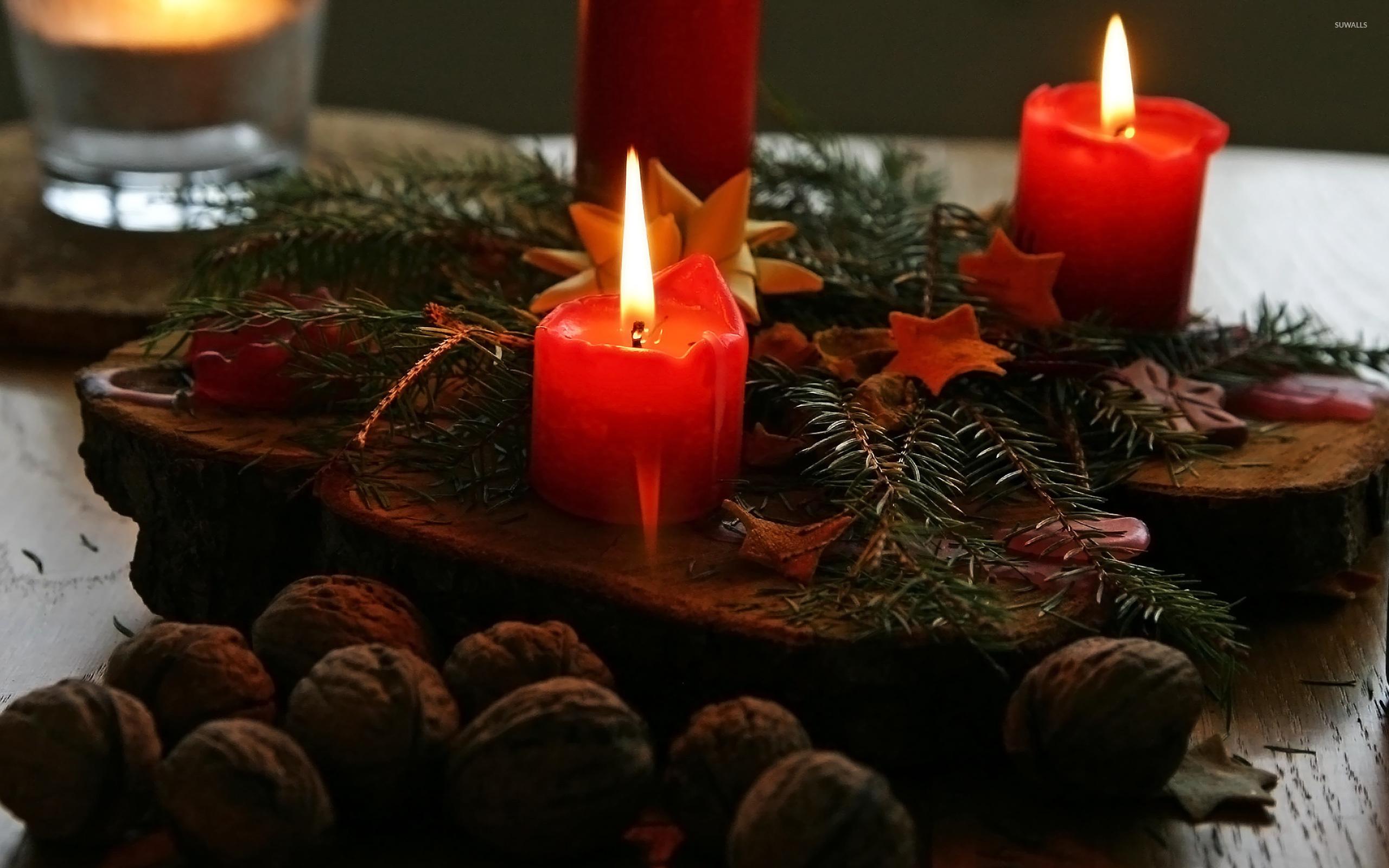 Christmas Candles [2] Wallpaper - Christmas Candle Wallpaper 4k , HD Wallpaper & Backgrounds