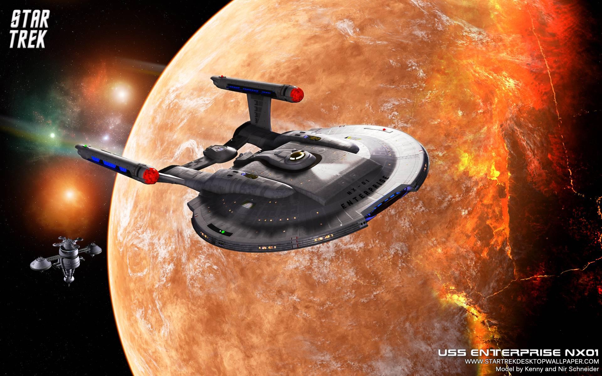 Star Trek Enterprise Nx01 On Burning Planet, Free Star - Star Trek Enterprise Planets , HD Wallpaper & Backgrounds