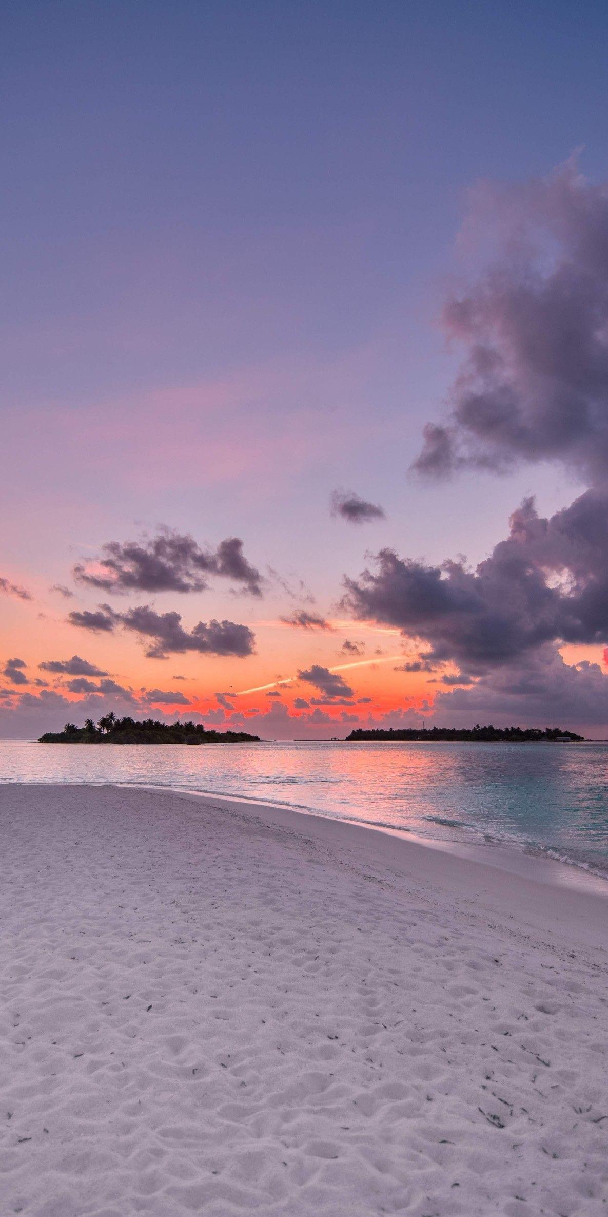 Beach Island Sunset Clouds Nature Wallpaper Summer