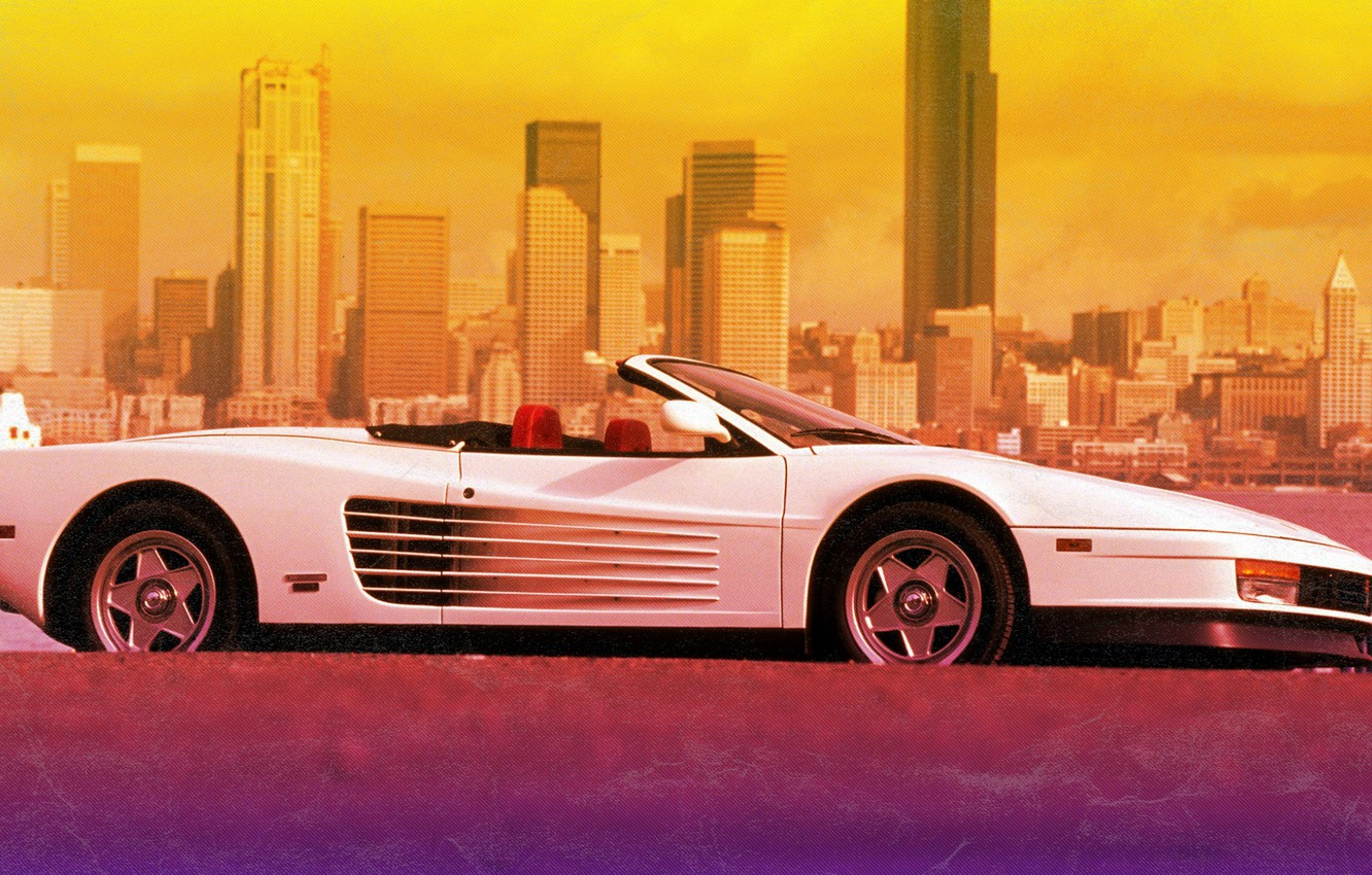 Photo Wallpaper The City Ferrari 80s Testarossa White Ferrari Testarossa Convertible 2099515 Hd Wallpaper Backgrounds Download