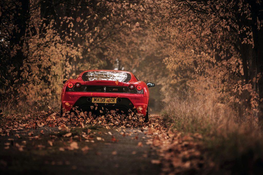 Car Red Ferrari Road Path Leaves 4k Wallpaper Ferrari F430