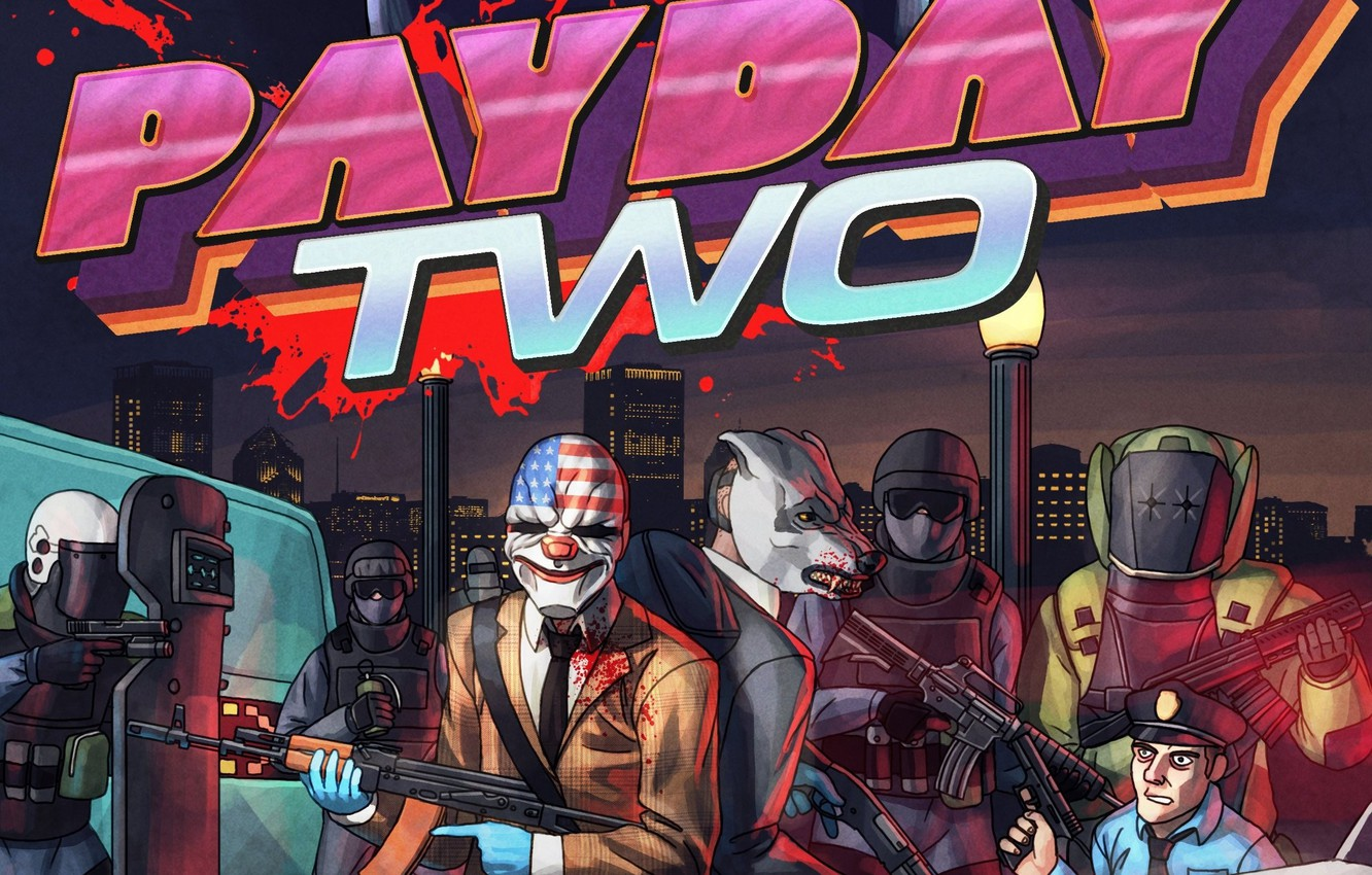 Photo Wallpaper The Game Police Wolf Art Wolf Payday
