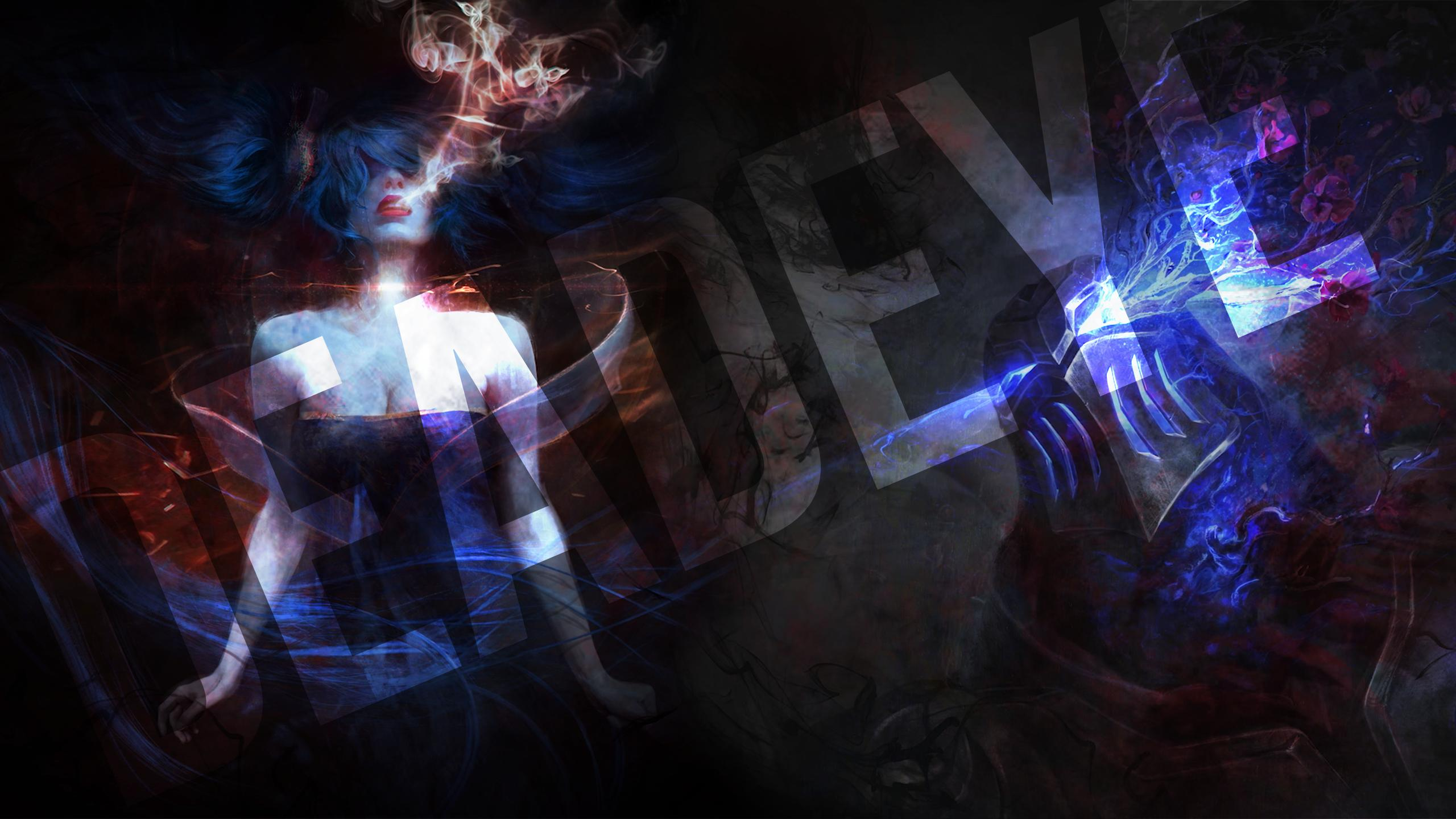 Sona And Zed With Text - Zed Champion 2560 X 1440 , HD Wallpaper & Backgrounds