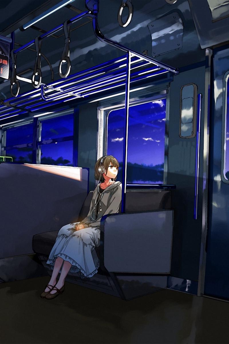 Wallpaper Kurono-kuro, Girl, Wagon, Sad, Anime - Sad Anime Wallpaper Iphone , HD Wallpaper & Backgrounds
