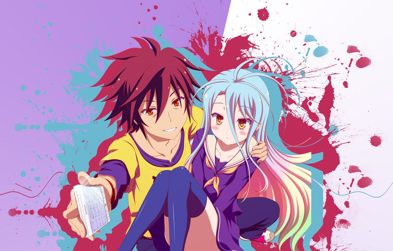 Photo Wallpaper Anime, Art, Girl, Guy, Two, No Game - Аниме No Game No Life , HD Wallpaper & Backgrounds
