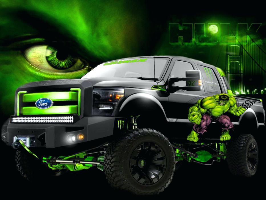 Monster Truck Wallpapers Vehicles Monster Hulk Trucks - Hulk Pick Up Truck , HD Wallpaper & Backgrounds