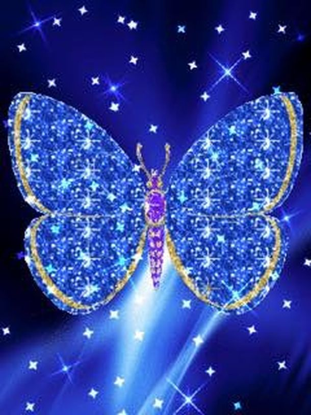 Butterfly Bejeweled In Blue - Animated Beautiful Butterflies , HD Wallpaper & Backgrounds