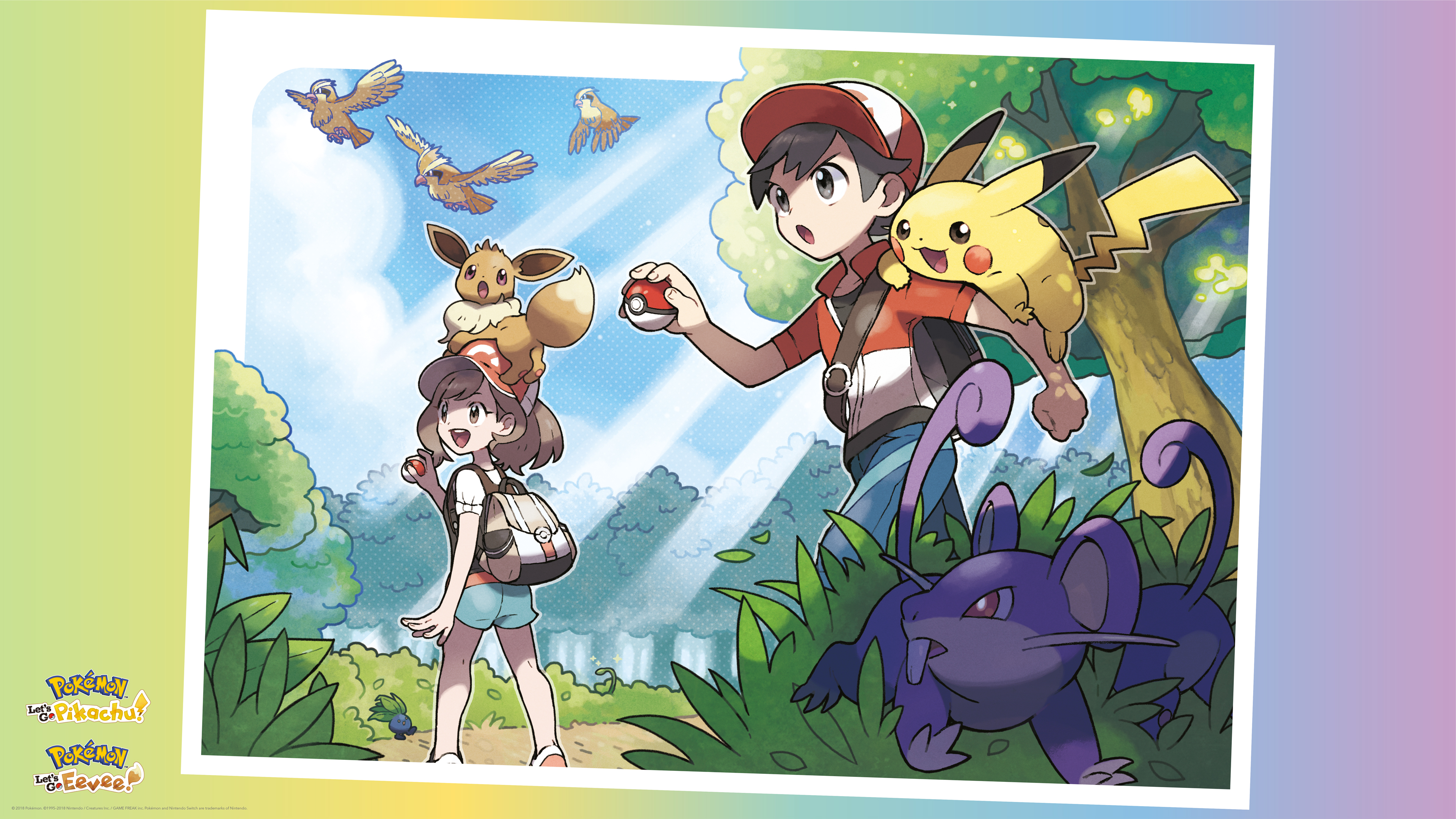 Pokémon, Pikachu, Eevee , Pokémon Lets Go Eevee, Chase , HD Wallpaper & Backgrounds