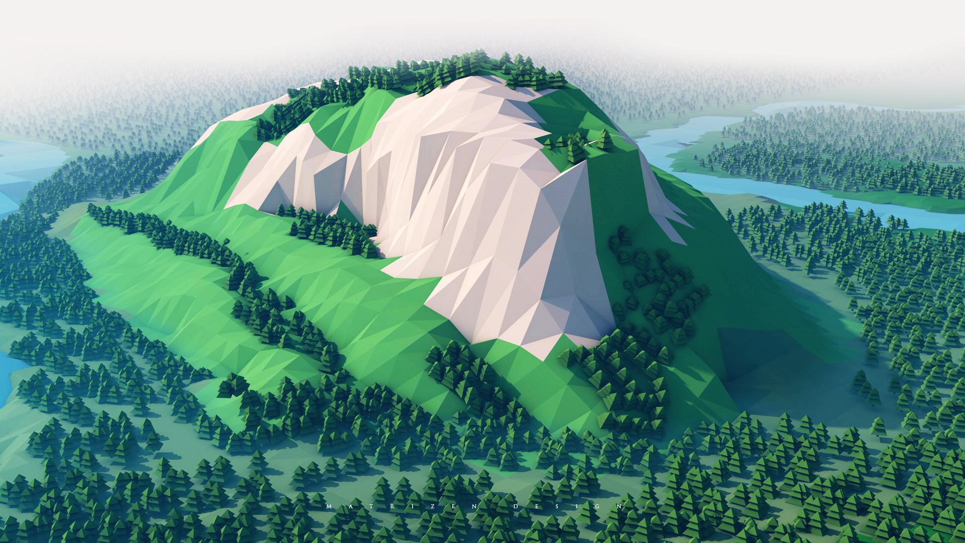 #photoshop, #cinema 4d, #3d, #landscape, #forest, #low - Mountain 3d Wallpapers 1080p , HD Wallpaper & Backgrounds
