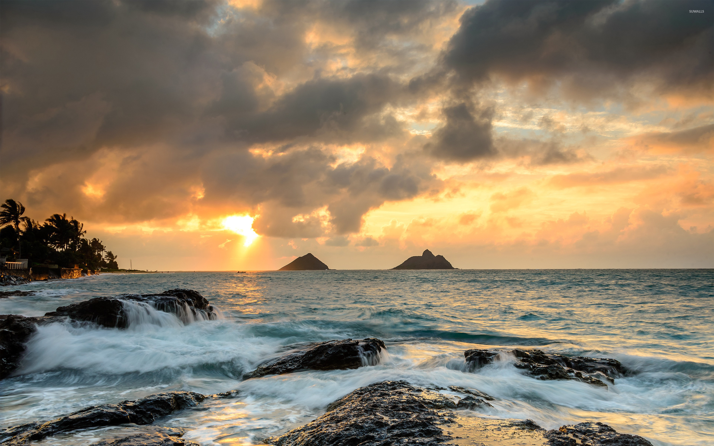 Sunrise At Lanikai Point, Hawaii Wallpaper - Nature Oil Painting Landscape , HD Wallpaper & Backgrounds