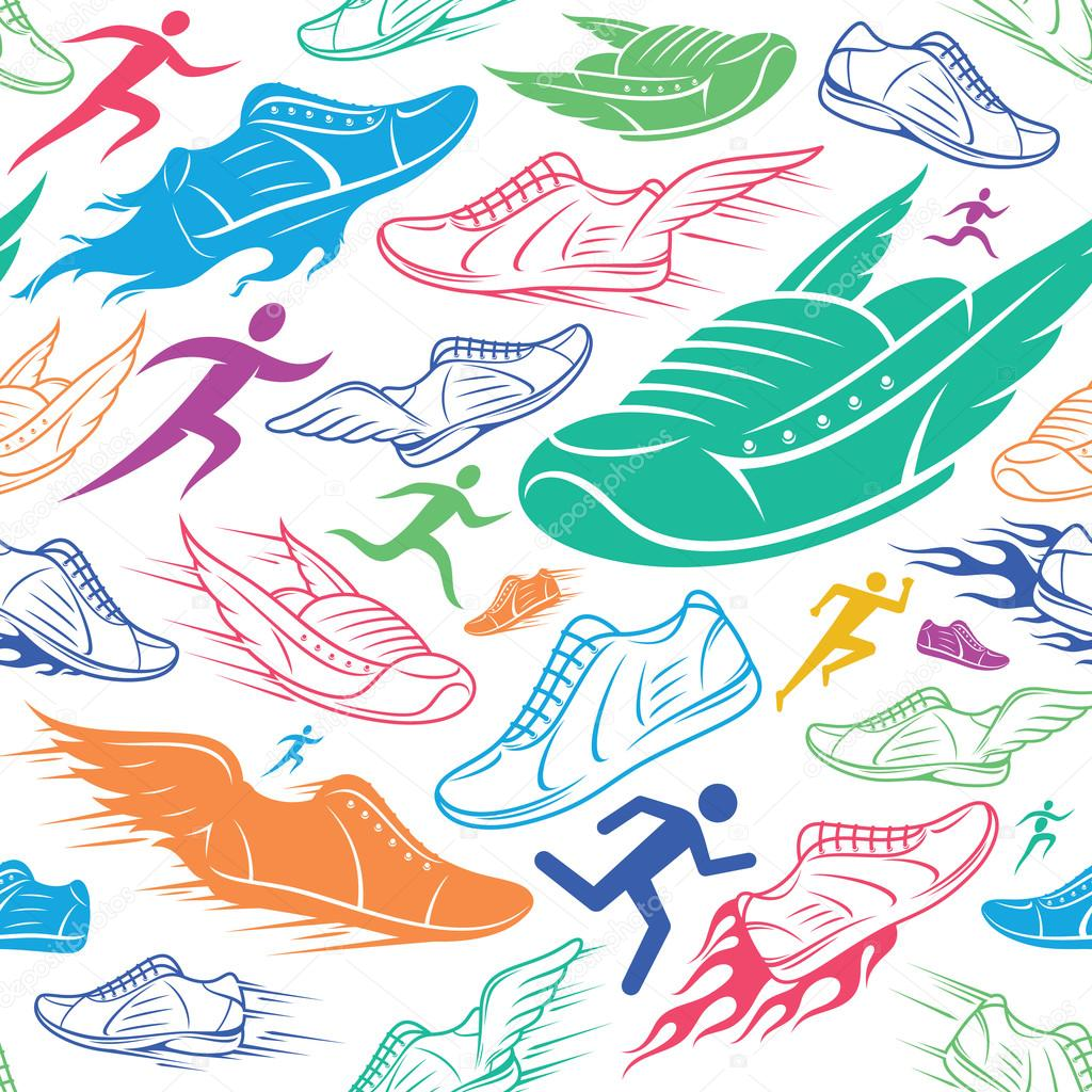 Running Club Background Sport Shoes And Running Man
