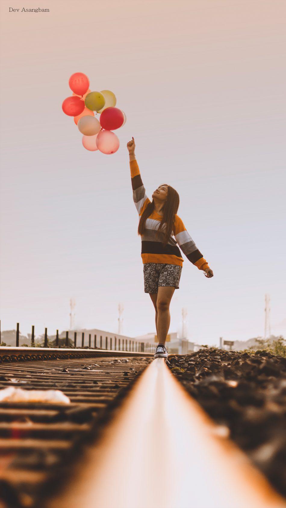 Happy Girl Balloons Train Track Graphy 4k Ultra Happy
