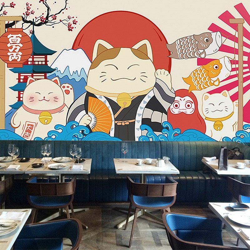 Japanese Style Wind Lucky Cat Ramen Snack Sushi Restaurant