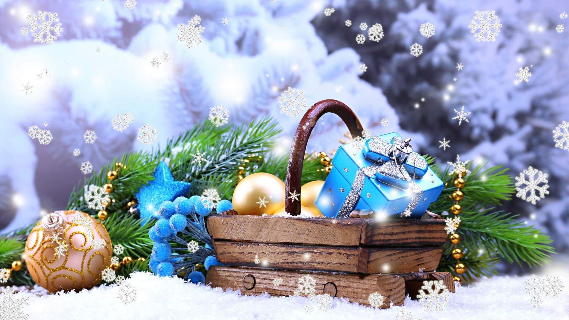 Holiday, New Year, Blue, Christmas Ornament, Christmas - Заставки На Рабочий Стол Компьютера , HD Wallpaper & Backgrounds