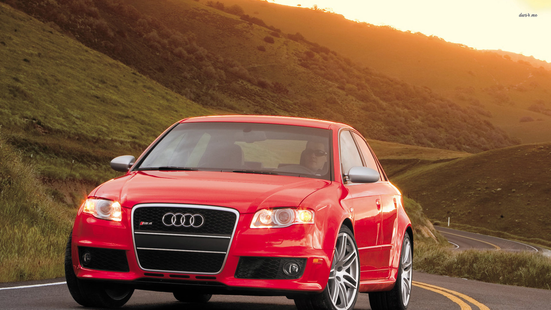 2008 Red Audi Rs4 On The Road Wallpaper Nature Images Odi