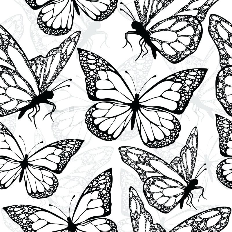 Black And White Butterfly Textile Print Fabric Design - Print Black And White Textile Design , HD Wallpaper & Backgrounds