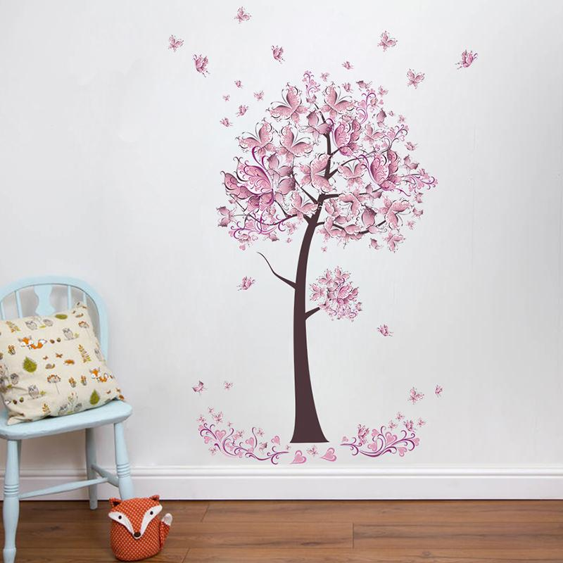 Pink Butterfly Flower Tree Wall Stickers Decals Girls - Naklejki Na Sciane Kwiaty , HD Wallpaper & Backgrounds