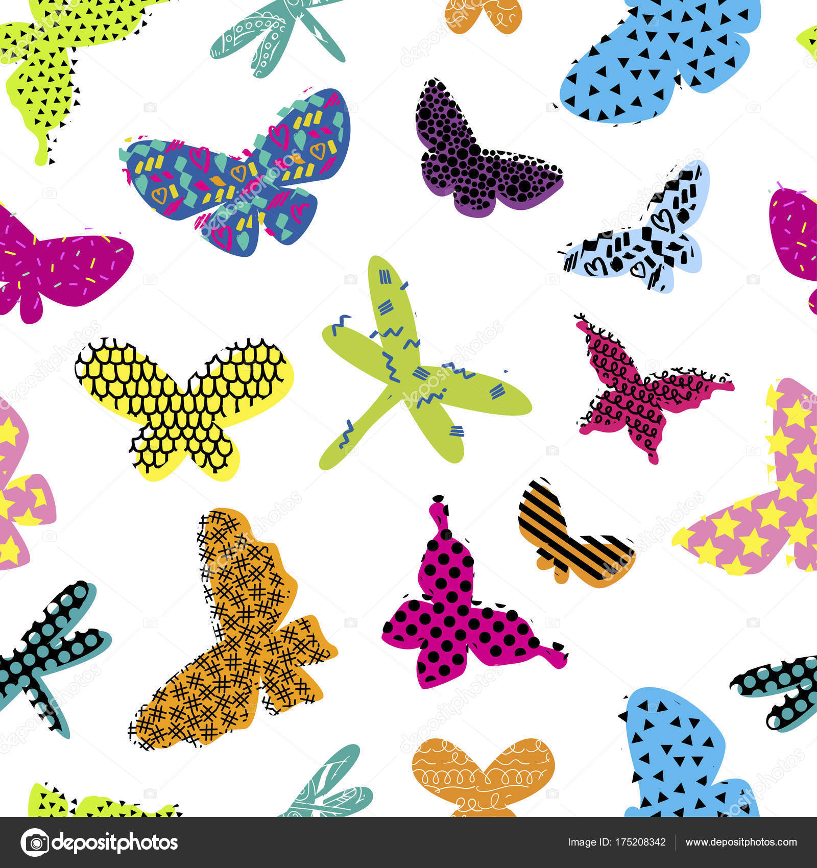Abstract Seamless Pattern For Girls Clothes - Vector Mariposas Niñas , HD Wallpaper & Backgrounds