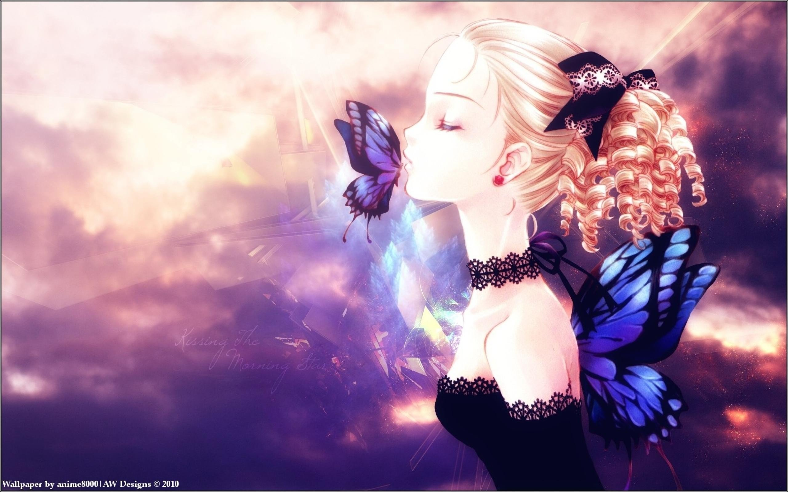 Anime Girls, Anime, Original Characters, Closed Eyes, - Anime Wallpaper Butterfly , HD Wallpaper & Backgrounds