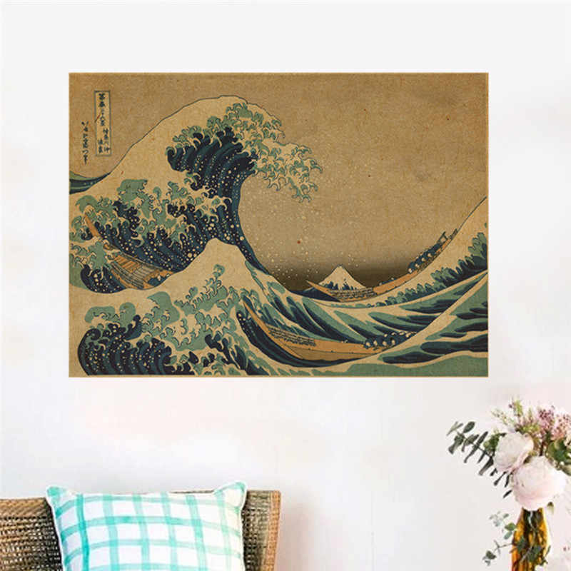 Japanese The Great Wave Off Kanagawa Poster Wall Stickers